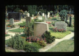 Headstones with small gardens in a cemetery in Bremen, Germany, 1983 (11 of 18)