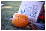 Morrie headstone and pumpkin, Logan, Utah, 1999