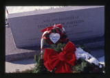Cassandra and Charla Johnston headstone, close-up of Christmas decorations, Providence, Utah, 2000