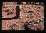 Presset grave marker showing surroundings, Woodside, Utah, 1989