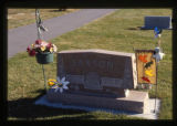 Saxton headstone and grave decorations, Logan, Utah, 1999