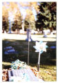 Kendell Hansen headstone and grave decorations, side view, Logan, Utah, 1999 (3)