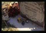 Samuel Robinson heastone and grave decorations, front side, Logan, Utah, 1999