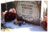 Samuel Robinson heastone and grave decorations, front side, Logan, Utah, 1999 (2)