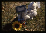 Temporary grave marker with two teddy bears, Logan, Utah, 1999 (1 of 3)
