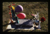 Brianne Jorgensen headstone and grave  decorations, backside image, Logan, Utah, 2001