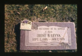 Irene B. Leyva grave marker decorated with a small wooden plaque in Salt Lake City, Utah, 2000