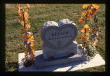 Austin Miles and Tate Henry Steven Benson gravemarkers with fall decorations, Smithfield, Utah,...