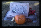 Morris J. Smith, Jr. grave marker decorated with a pumpkin in Logan, Utah, 1999