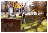 Bluebird birdhouse with wind chimes at Yeates gravemarker, Logan, Utah, 1999 (2 of 2)