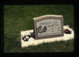 Martin grave marker decorated with flowers in Cody, Wyoming, 1997