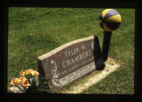 Grave marker with purple and yellow basketball in Cody, Wyoming, 1997