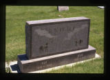 Grave marker engraved with horses in Cody, Wyoming, 1997
