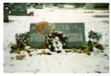 Yeates grave marker decorated with a wreath and a cardboard turkey in Logan, Utah, 1999