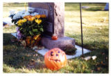 Gilbert M. Anderson and Josephine R. headstone with Halloween decorations, Logan, Utah, 2001 (1 of...