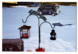 Unreadable grave marker decorated for Christmas in Logan, Utah, 1999