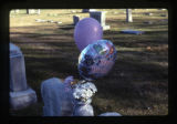 Anne K. Roskelley heart-shaped gravemarker and vase with balloons, Logan, Utah, 1999.