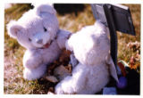 Temporary grave marker with two teddy bears, Logan, Utah, 1999 (2 of 3)