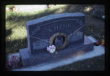 Thelma and Merlin Schenk headstone and decoration, side view, Logan, Utah, 1999