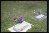 Aleda S. Marshall and Corlett Seamons gravemarkers with Lilac blossoms, Logan, Utah, 2000.