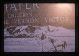 Schafer grave marker close up of children's names, Monticello, Utah, 1989 (2 of 2)
