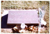 Kathryn Bulloch Hall headstone, full view and decorations, Logan, Utah, 1999