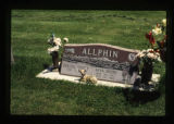 Grave marker decorated with fawn figurine and flowers in Cody, Wyoming, 1997