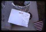 Grave decoration with note and flag, Fountain Green, Utah, 1999 (3 of 3)