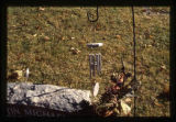 Dustin Michael Daniels gravemarker and fall decorations, hanging chimes, Logan, Utah, 1999 (2 of 2)