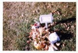 Temporary plague grave marker with teddy bear and truck decorations, Logan, Utah, 1999