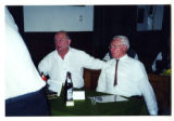 Two seated Austrian men yodeling or singing in a restaurant, Salzburg, Austria, 2000