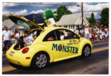 Parade images of floats of the Bear Lake monster