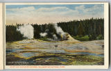 Giant and Indicator Geysers postcard, Yellowstone National Park, 1912