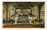 Grand Canyon hotel postcard, lounge staircase, Yellowstone Park, ca. 1920