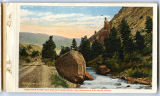 Gardiner River and Eagle's nest rock postcard, Yellowstone National Park, 1912
