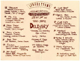 Longbottom's Delicatessen menu, 1978
