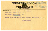 Telegram from Eliza Shepard to Jack London, undated