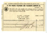 Pacific Telephone and Telegraph Company bills, June 1 - October 1, 1918