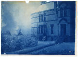 "Winter scene, part of Old Main, ""Agricultural College of Utah 1889"" inlayed above..."