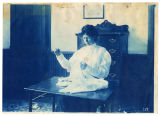 Woman hand sewing, ACU, 1896-1916