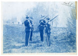 Cadets practicing skirmish fire on field, north of orchards, 3 of 3, ACU, 1905