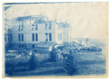 Construction of Old Main, West Wing, third and fourth floors, Spring 1916, overexposed image