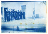 Cadets drilling on stage of the Auditorium in Old Main, profile, 1901