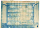 Fruit bottled by students stored in single columned shelving, overexposed, ACU, 1901
