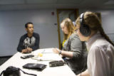Berhane Debesai Abraha with his interview group Hilary Warner Evans (right) and Magen Olsen...