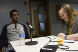 Magen Olsen and Berhane Debesai Abraha at his interview, May 17, 2015