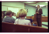 Cache County Attorney Scott Wyatt speaks to parents of trespassing youths at the Cache County...