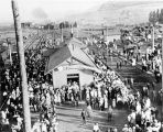 Crowds gathered at the depot to see the Liberty Bell in Cache Junction, Utah on July 11, 1915