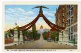 Postcard of Eagle Gate, looking towards State Capitol