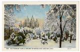 "Postcard of The ""Mormon"" Temple Grounds in Winter"